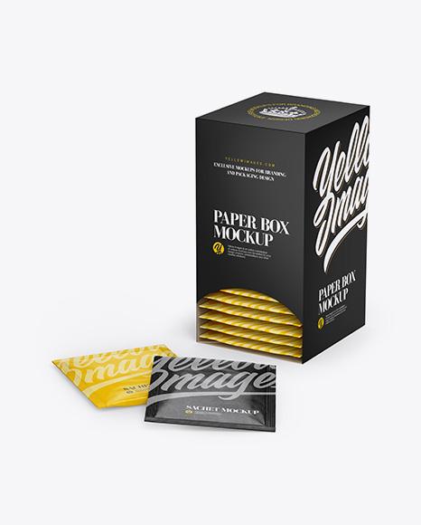 Matte Box W/ Kraft Sachets Mockup