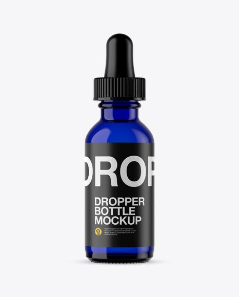 Blue Glass E-Liquid Bottle Mockup