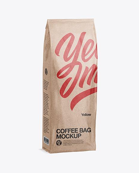 Download 500g Kraft Coffee Bag Psd Mockup Half Side View Yellowimages