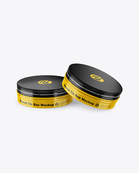 Two Glossy Round Tin Boxes Mockup