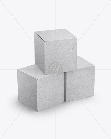 Download Three Kraft Boxes Psd Mockup Yellowimages