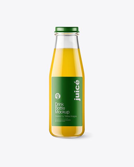 Clear Glass Bottle w/ Orange Juice Mockup