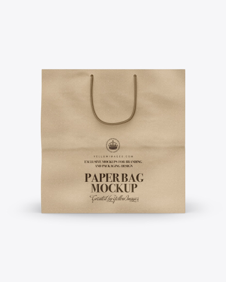 Square Kraft Paper Bag Mockup