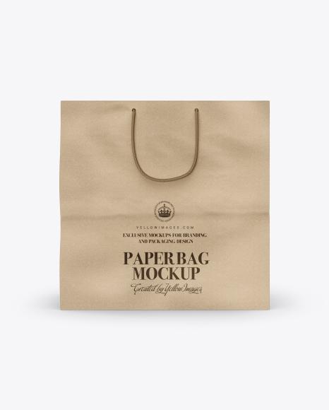 Square Kraft Paper Bag Mockup