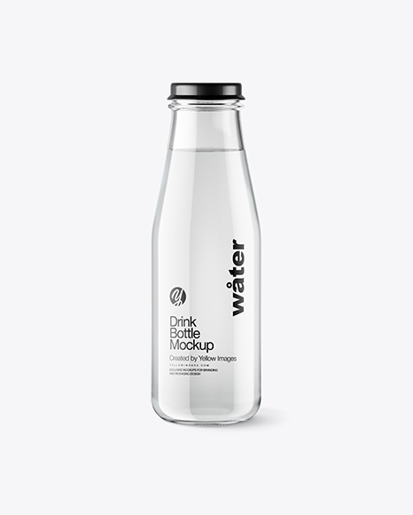Clear Glass Bottle w/ Water Mockup