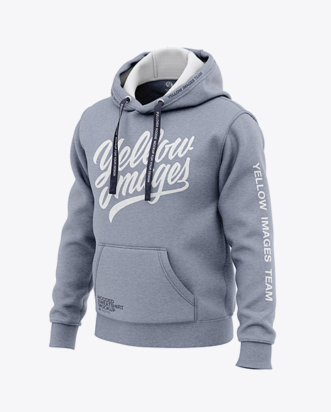 Men's Heather Pullover Hoodie - Front Half Side View