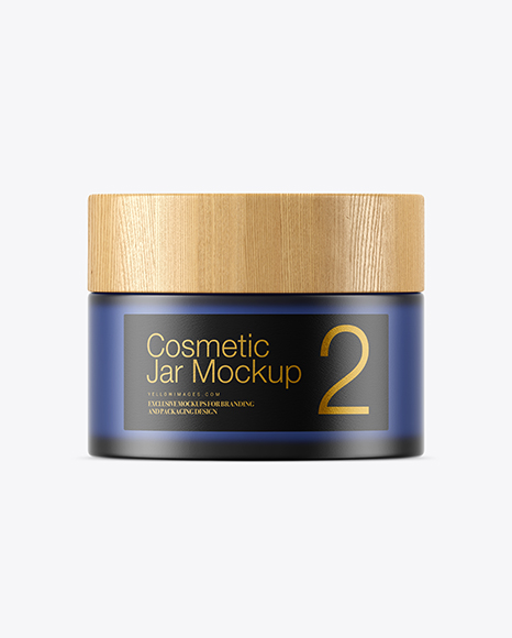 Frosted Blue Glass Cosmetic Jar Mockup