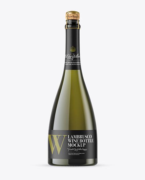 Green Glass Lambrusco White Wine Bottle Mockup