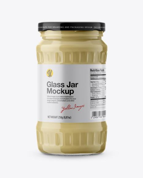 Creamed Honey Glass Jar Mockup