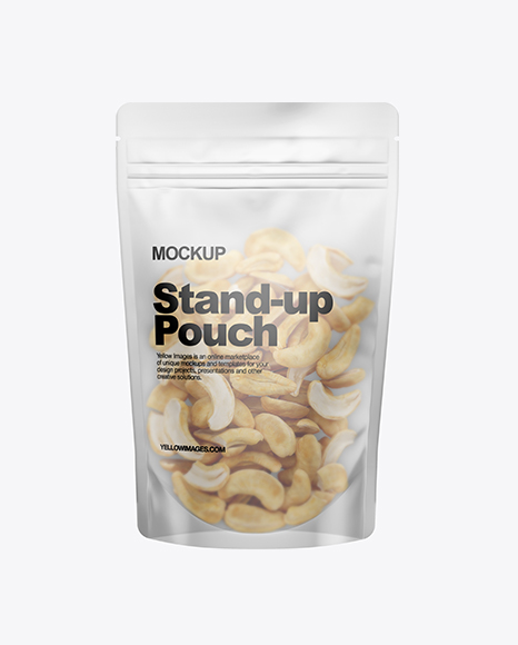 Frosted Stand-Up Pouch W/ Cashew Nuts Mockup
