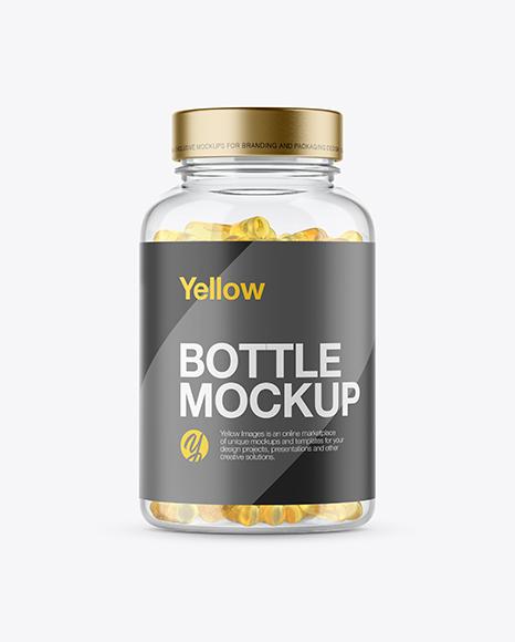 Clear Plastic Fish Oil Bottle Mockup
