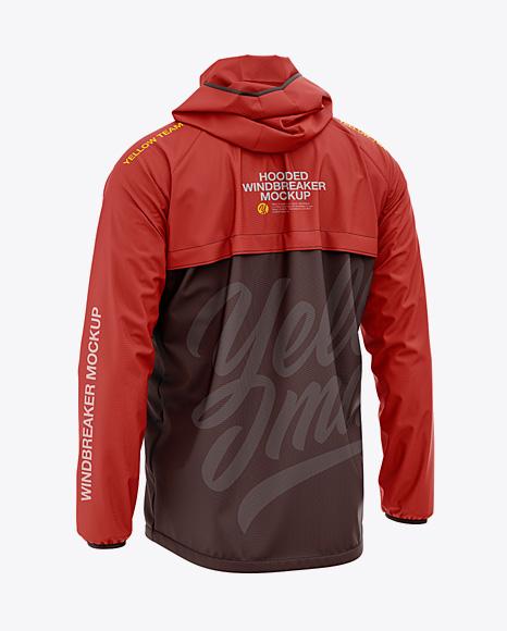 Men's Lightweight Hooded Windbreaker Jacket - Back Half-Side View