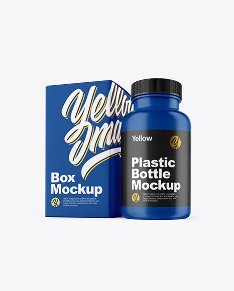 Matte Pills Bottle with Box Mockup