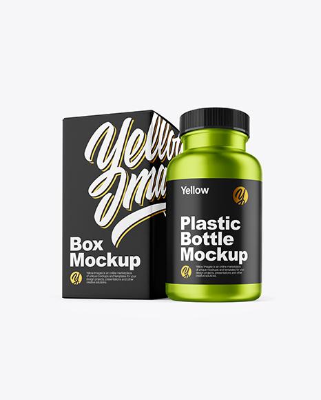 Matte Metallic Pills Bottle with Box Mockup