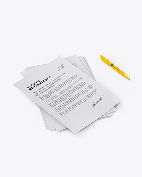 A4 Paper Sheets with Pen Mockup