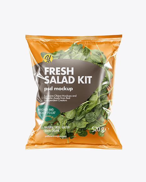 Plastic Bag With Baby Spinach Mockup