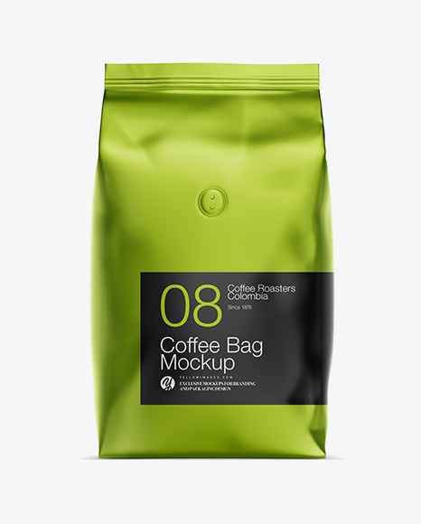 1kg Matte Metallic Coffee Bag Mockup