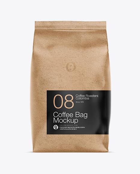 1kg Kraft Paper Coffee Bag Mockup