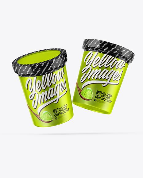 Two Metallized Ice Cream Cups Mockup