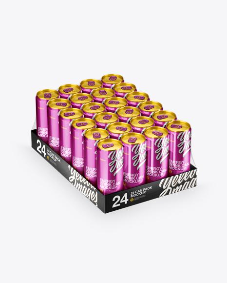 Transparent Pack with 24 Metallic Aluminium Cans Mockup