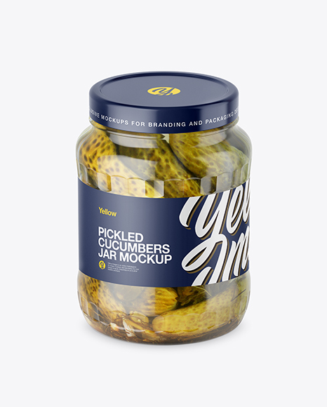 700ml Clear Glass Cucumbers Jar Mockup