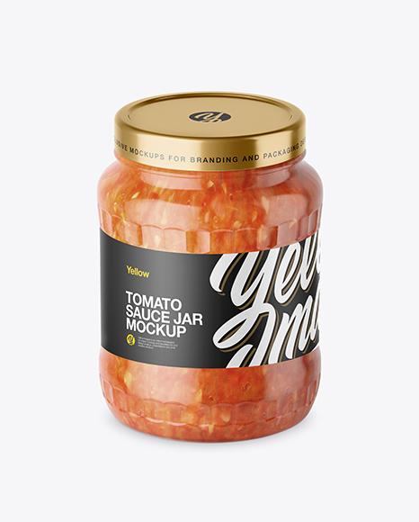 700ml Clear Glass Sauce Jar Mockup
