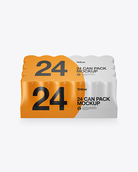 Matte Pack with 24 Cans Mockup