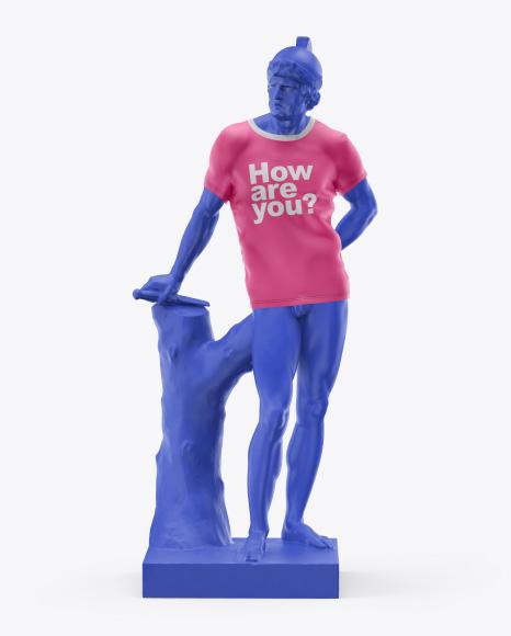 Man's Statue Wearing a T-Shirt Mockup