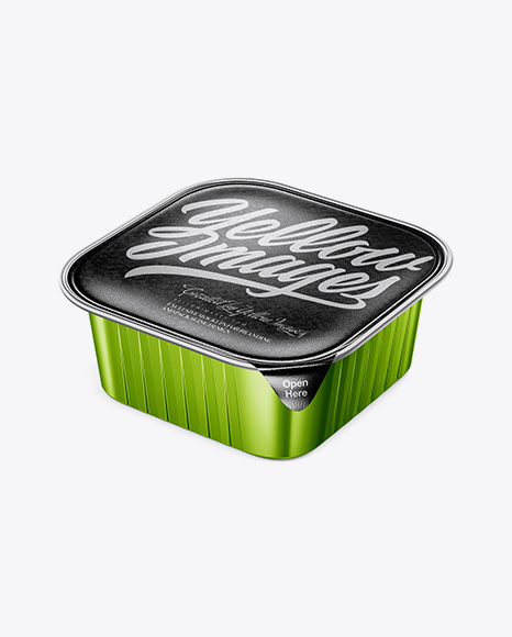Square Metallic Cup with Foil Lid Mockup - Half Side View (High-Angle Shot)