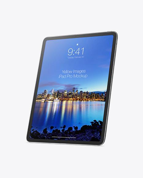 iPad Pro Vertical Mockup - Half Side View
