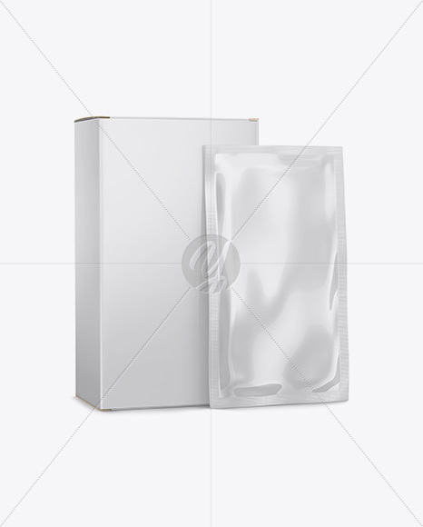 Download Metallic Sachet With Box Psd Mockup Front View Yellowimages