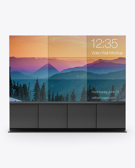 LCD Video Wall PSD Mockup