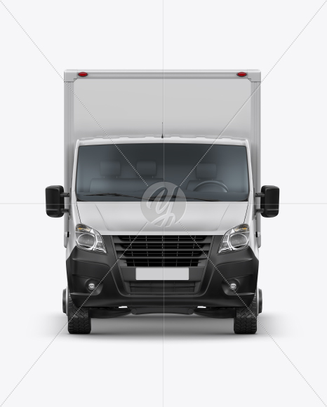 Download Box Truck Mockup - Front View in Vehicle Mockups on Yellow ...