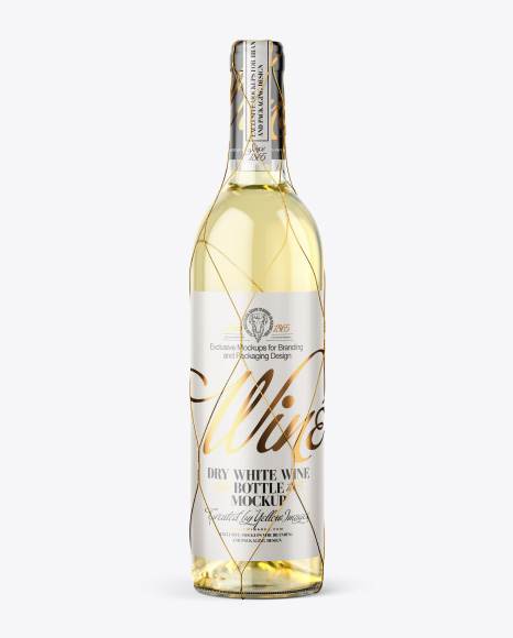 Download Clear White Wine Bottle Glass Psd Mockup Yellowimages