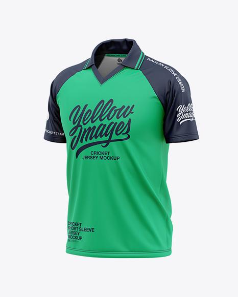 Download Free Men's Short Sleeve Cricket Jersey / Polo V-Neck Shirt ...