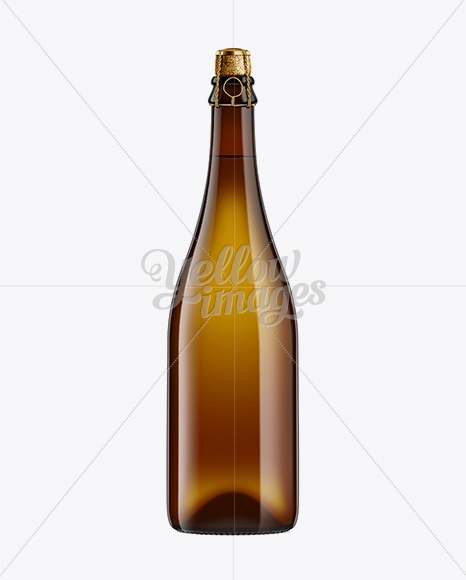 Download 500ml Clear Glass Lager Beer Bottle Psd Mockup Yellow Images