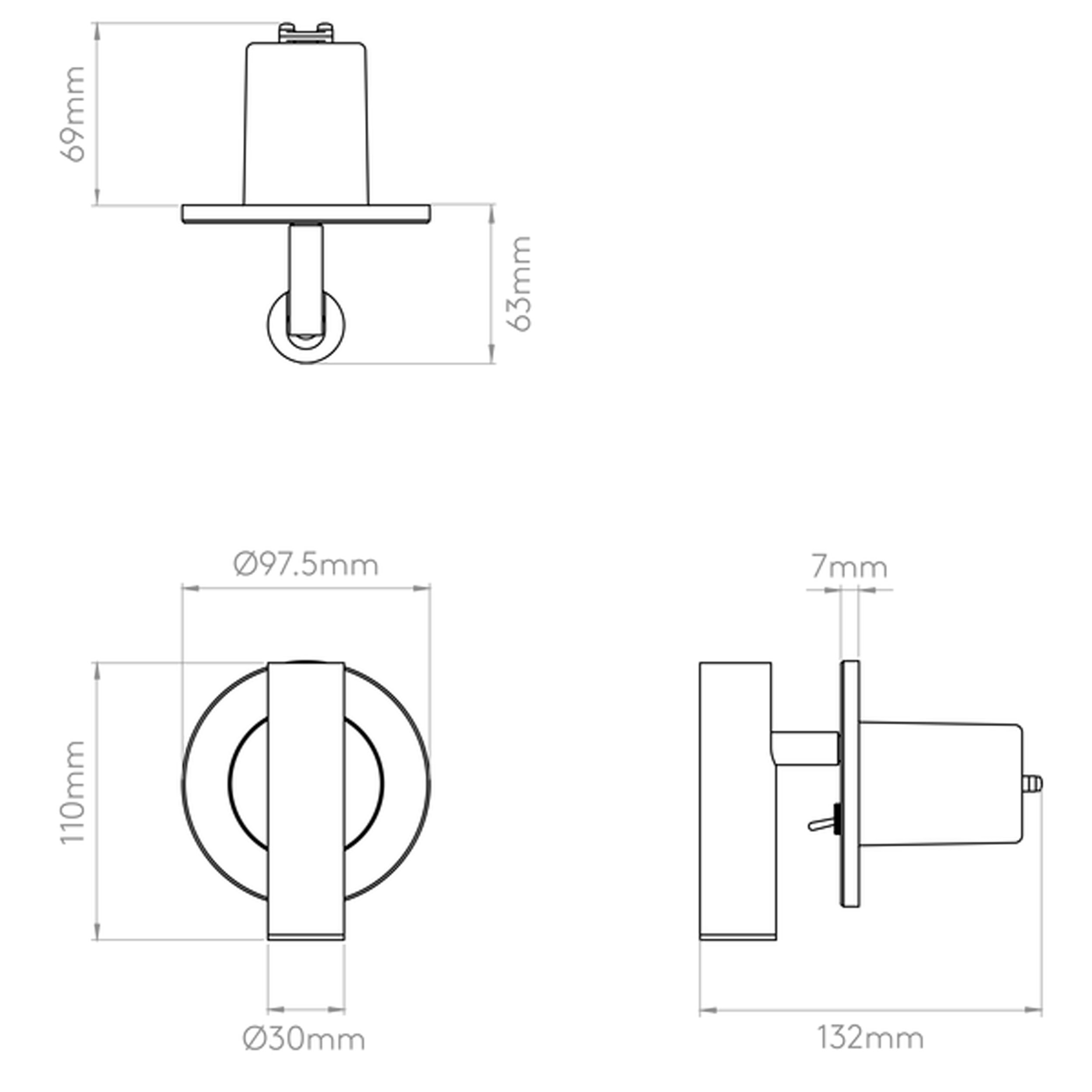 Enna Recess Switched Led Wall Light