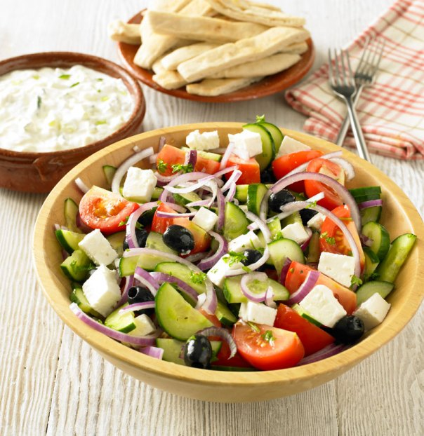 Image result for greek salad tzatziki