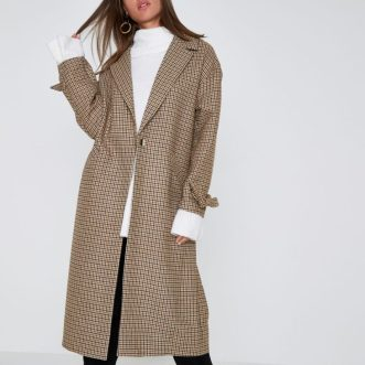 Brown Check Tie Cuff Coat, £100, River Island