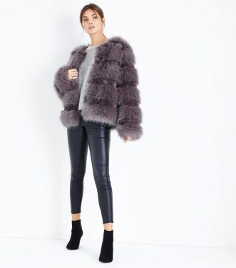 Grey Pelted Fur Jacket, £59.99, New Look