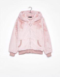 Faux Fur Jacket with Hood, £49.99, Bershka