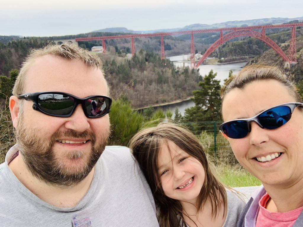 George, Olivia and Karen overlooking the Garabit viaduct