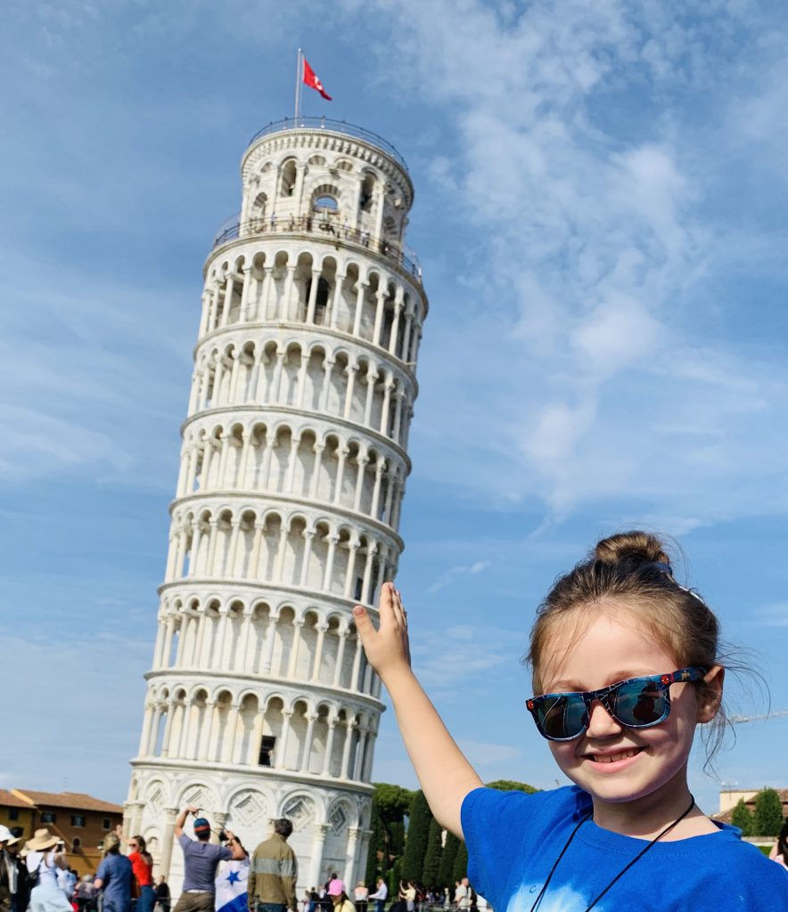 Olivia holding up the Learning Tower of Pisa