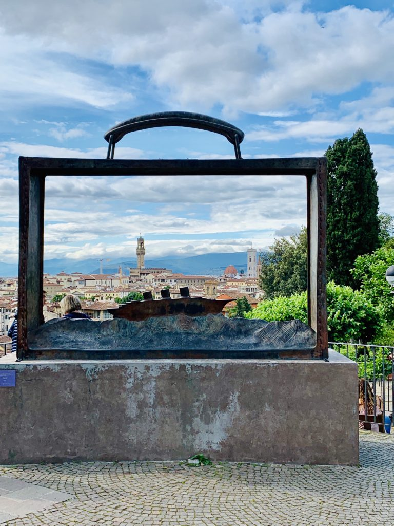 Art in the Rose garden at Looking over Florence from the Rose garden at Piazzale Michelangelo Florence