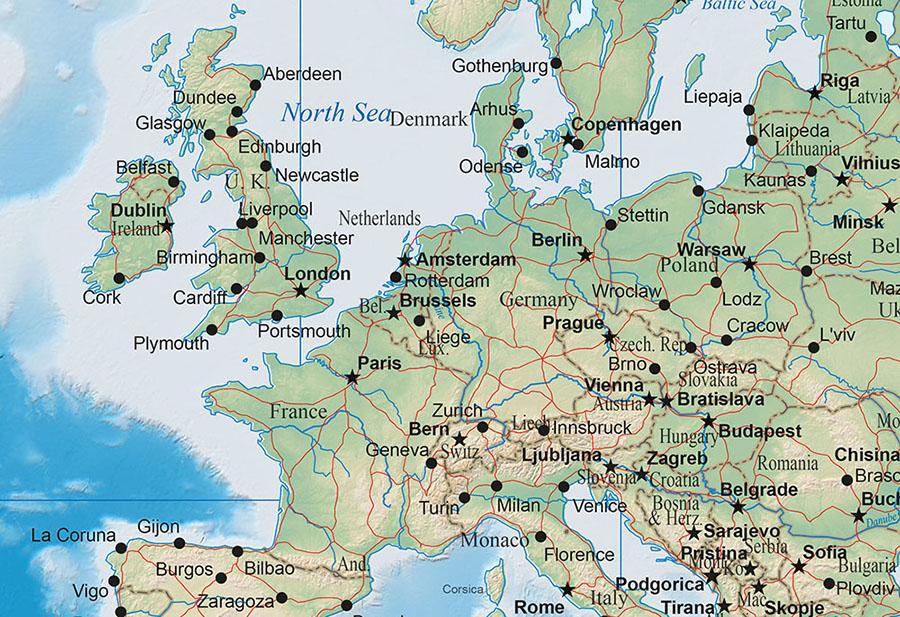 Ocean World Map Closeup