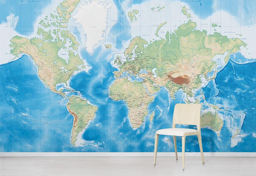 Oceanic World Map Wallpaper Mural in situ