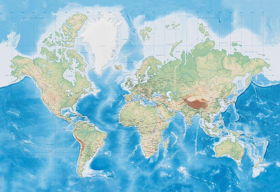 Ocean World Map full wallpaper mural design