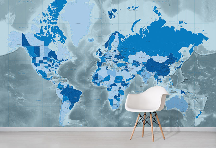 Cool Blue World Map Wallpaper Wall Mural