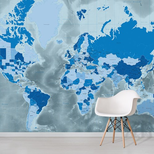 Icy Cool Blue Tones World Map Wallpaper wall mural design in situ with white chair