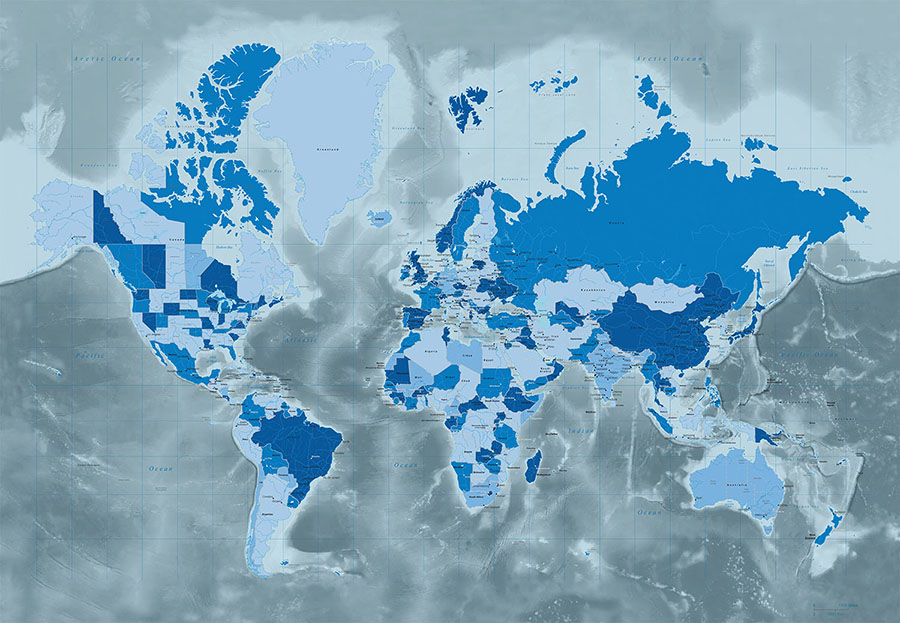 Icy Cool Blue Tones World Map Wallpaper Mural design